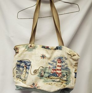 Lighthouse canvas tote